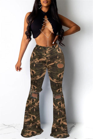Camouflage Print Hole Distressed Denim Pants