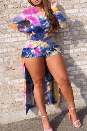 Tie Dye Long Sleeve High Low Top & Shorts