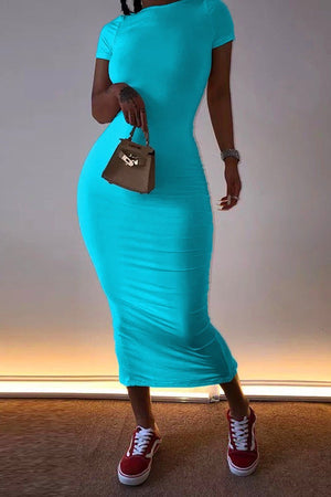 Solid Color Short Sleeve Bodycon Maxi Dress