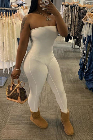 Solid Color Strapless Skinny Jumpsuit