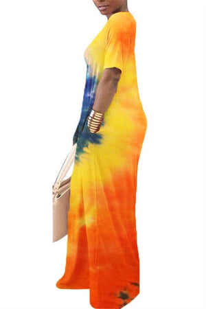 Skew Neck Tie Dye Pocket Casual Dress