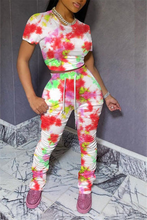 Tie Dye Short Sleeve Scrunched Two Piece Sets