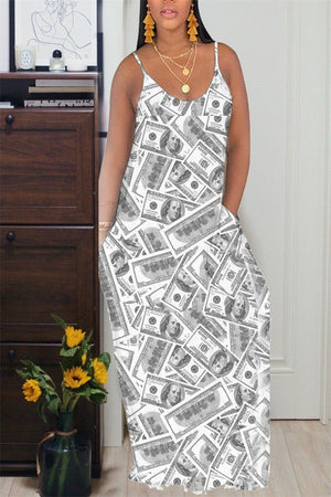Dollar Print Spaghetti Straps Maxi Dress