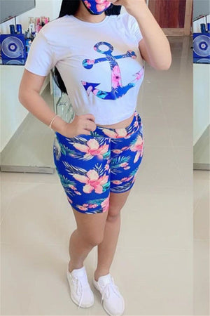 Anchor Print Short Sleeve Two Piece Sets