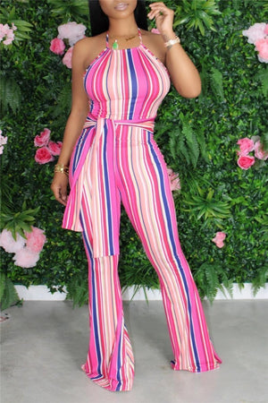 Stripe Print Tie Up Flared Jumpsuit