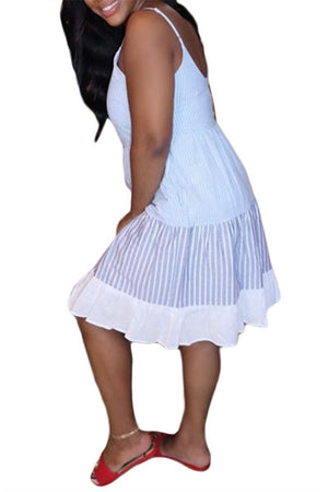 Spaghetti Straps Stripe Patchwork Ruffled Dress