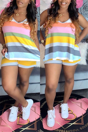 Colorful Stripe Sleeveless Casual Two Piece Sets