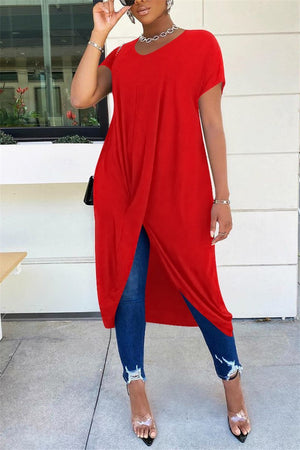 Solid Color Short Sleeve Asymmetric Dress