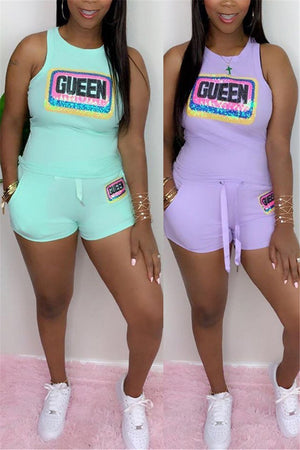 Letter Sequined Sleeveless Pocket Two Piece Sets