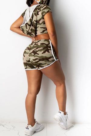 Camouflage Printed Midriff Two Piece Sets