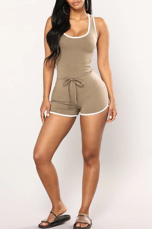 Solid Color Drawstring Waist Sleeveless Romper