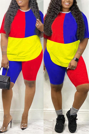 Color Block Short Sleeve Casual Two Piece Outfits