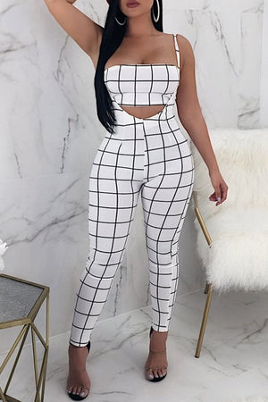 Plaid Printed Halter Two Piece Sets