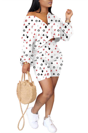 Poker Print Long Sleeve Casual Two Piece Outfits