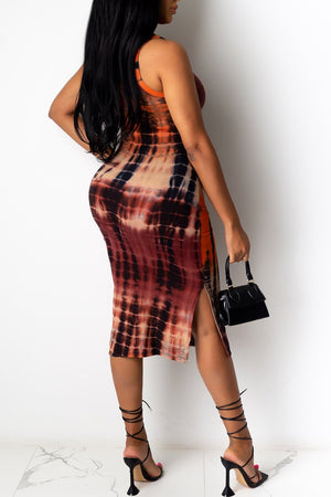 Scoop Neck Sleeveless Tie Dye Dress