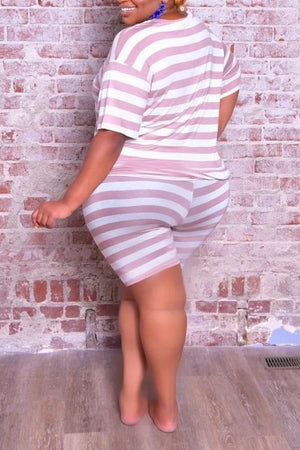 Stripe Print Plus Size Two Piece Sets