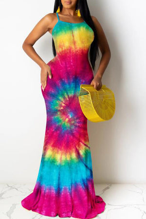Tie Dye Strapped Sleeveless Maxi Dress