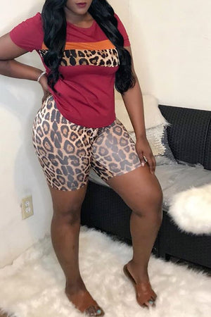 Leopard Print Patchwork Plus Size Top & Shorts