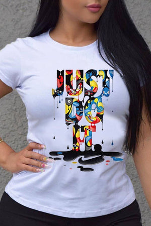 Colorful Letter Print Short Sleeve T-Shirt