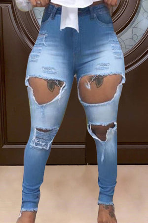 Patchwork High Waist Hole Distressed Jeans