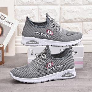 Women's Soft And Lightweight Letters Flying Knit Sneakers