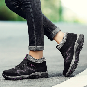 Men's and women's winter thermal velvet velcro buckle trendy joker hiking sneakers