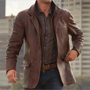 Men Zipper Leather Jackets Coats Long Sleeve