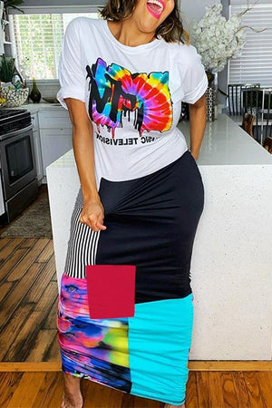 Color Block Letter Print Short Sleeve Maxi Dress