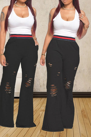 Hole Distressed Solid Color Flared Pants