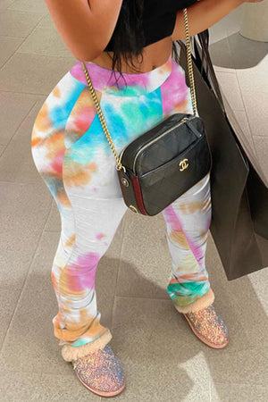 Wrinkled Tie Dye High Waist Pants