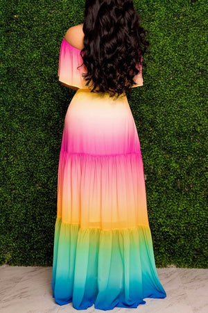 Off The Shoulder Tie Dye Belted Maxi Dress