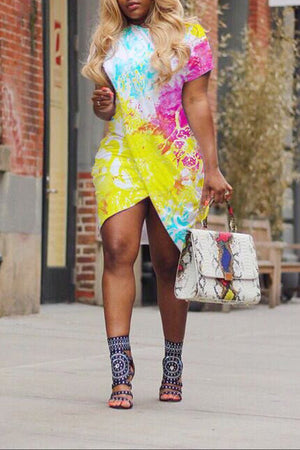 Asymmetric Hem Plus Size Tie Dye Dress