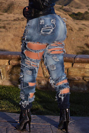 High-elastic Hole Distressed Bodycon Jeans