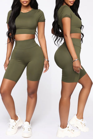 Back Bandage Solid Short Sleeve Top & Shorts