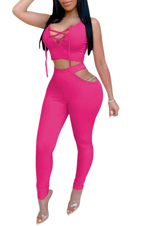 Bandage Sleeveless Hollow Out Two Piece Sets