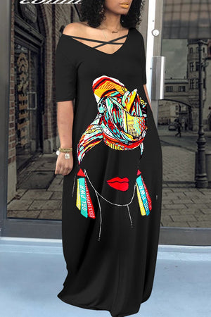 Digital Print V-neck Pocket Maxi Dress