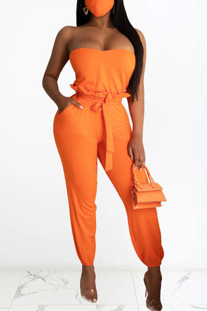 Strapped Belted Two Piece Sets Without Mask