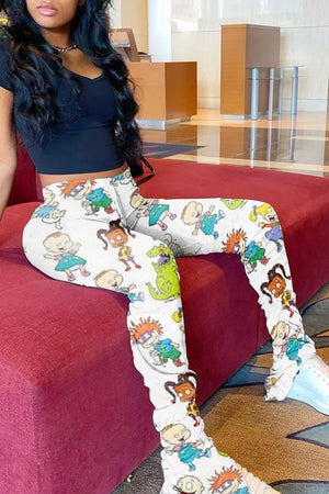 Cartoon Print Wrinkled Drawstring Waist Pants