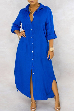 Turndown Collar Side Slit Solid Maxi Dress