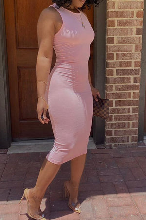 Sleeveless Round Neck Bodycon Midi Dress