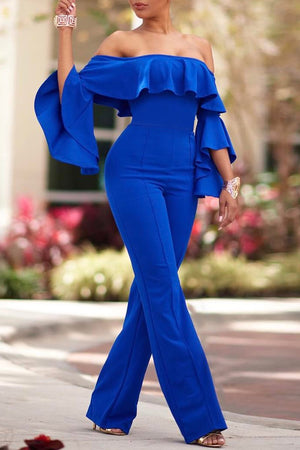 Off The Shoulder Flounced Solid Jumpsuit