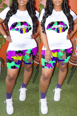 Lip Print Plus Size Camouflage Print Top & Shorts