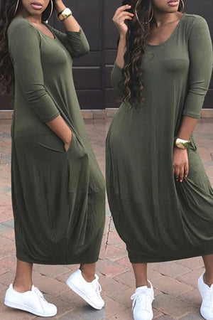 Round Neck Solid Color Pocket Casual Dress