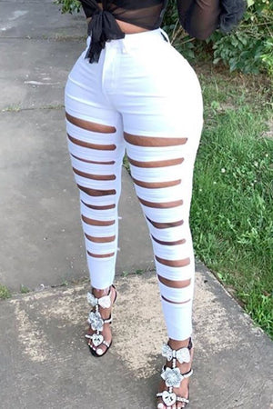 Solid Color Hole Distressed Bodycon Pants