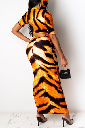 Tiger Print Hollow Out Maxi Dress