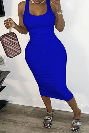 Wrinkled Back Bandage Scoop Neck Midi Dress