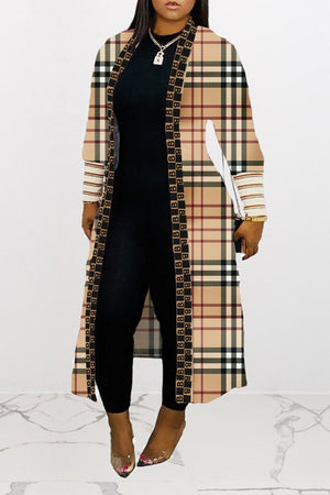 Lattice Print Long Sleeve Casual Coat