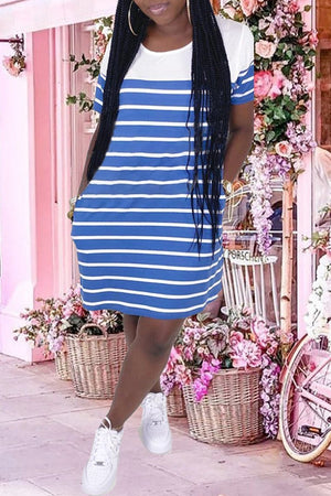 Stripe Print Round Neck Patchwork Midi Dress