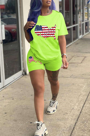 American Flag Print Short Sleeve Two Piece Sets
