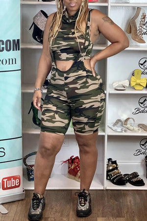 Camouflage Print Sleeveless Two Piece Sets